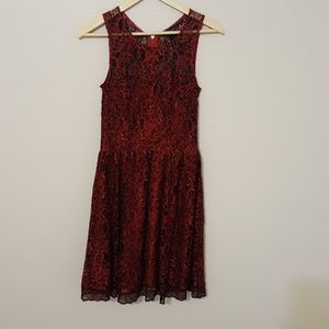 Red and black lace A line dress size 2